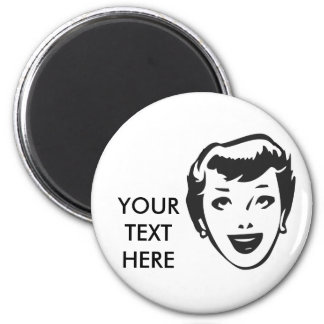 CREATE YOUR OWN RETRO HAPPY LADY HEAD GIFTS 6 CM ROUND MAGNET