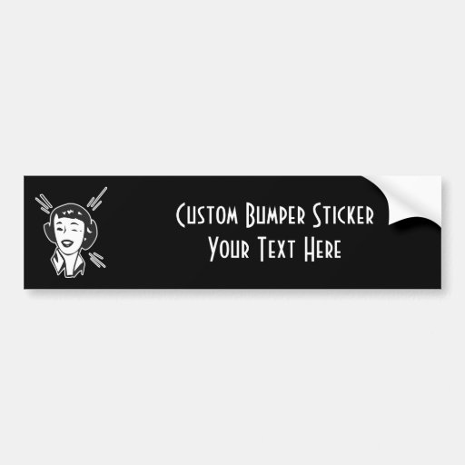 CREATE YOUR OWN RETRO HAPPY WINKING LADY GIFTS BUMPER STICKERS