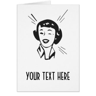 CREATE YOUR OWN RETRO HAPPY WINKING LADY GIFTS GREETING CARD