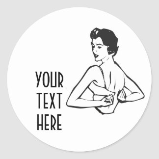 CREATE YOUR OWN RETRO LADY DRESSING GIFTS STICKERS