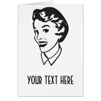 CREATE YOUR OWN RETRO LADY FACE GIFTS GREETING CARD