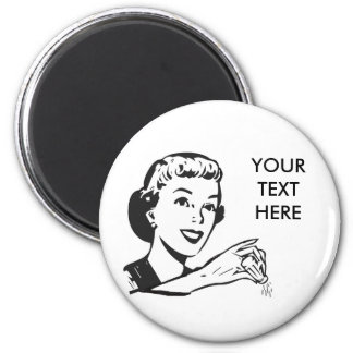 CREATE YOUR OWN RETRO SALT LADY GIFTS 6 CM ROUND MAGNET