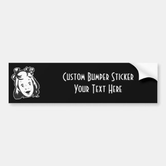 CREATE YOUR OWN RETRO SURPRISED GIRL GIFTS BUMPER STICKER