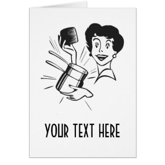 CREATE YOUR OWN RETRO SURPRISED LADY GIFTS GREETING CARD