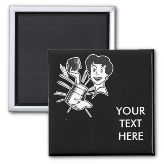 CREATE YOUR OWN RETRO SURPRISED LADY GIFTS SQUARE MAGNET