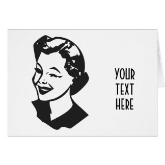 CREATE YOUR OWN RETRO WINK LADY GIFTS GREETING CARD