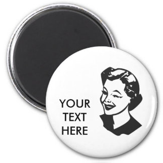 CREATE YOUR OWN RETRO WINK LADY GIFTS 6 CM ROUND MAGNET