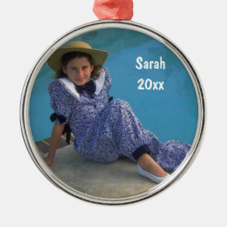 Create Your Own Round Photo Keepsake With Text Silver-Colored Round Decoration