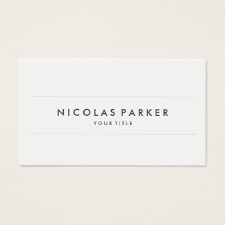 Create Your Own Simple Plain Minimalist White Grey Business Card