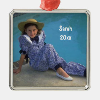 Create Your Own Square Photo Keepsake With Text Christmas Ornament