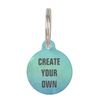 Create Your Own Turquoise Watercolor Painting Pet Name Tags