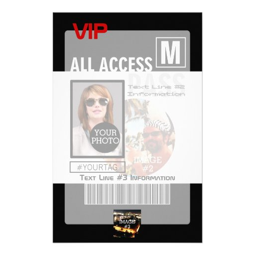 Create Your Own VIP Pass 8 ways to Personalize! Custom Stationery