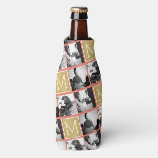 Create Your Own Wedding Photo Collage Monogram Bottle Cooler