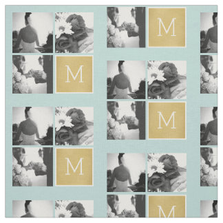 Create Your Own Wedding Photo Collage Monogram Fabric