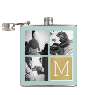 Create Your Own Wedding Photo Collage Monogram Hip Flask