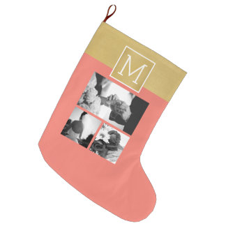 Create Your Own Wedding Photo Collage Monogram Large Christmas Stocking