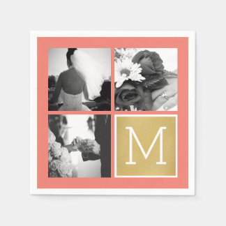 Create Your Own Wedding Photo Collage Monogram Paper Serviettes