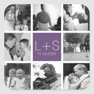 Create Your Own Wedding Photo Collage Monogram Square Stickers