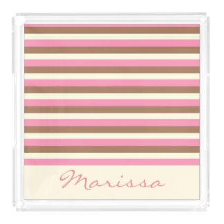 Create Your Own - Whimsical Neapolitan Stripes Acrylic Tray