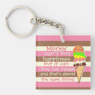 Create Your Own - Whimsical Neapolitan Stripes Double-Sided Square Acrylic Key Ring