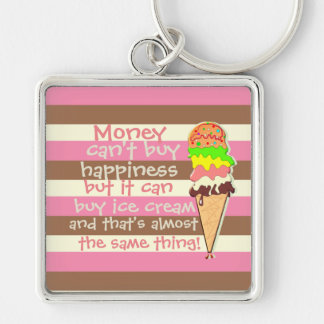 Create Your Own - Whimsical Neapolitan Stripes Silver-Colored Square Key Ring