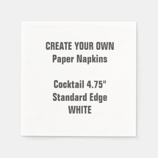 Create Your Own WHITE Cocktail Paper Napkins