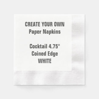 Create Your Own WHITE Coined Cocktail Paper Napkin
