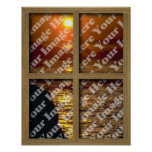 Create Your Own Window With Brown Wooden Frame Poster