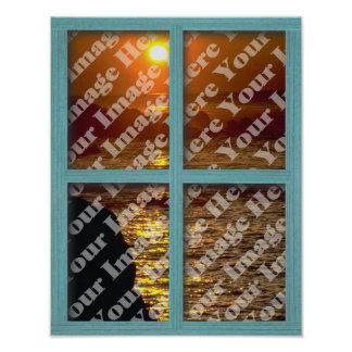 Create Your Own Window With Green Wooden Frame Poster