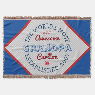 Create Your Own World's Most Awesome Grandpa Logo Throw Blanket