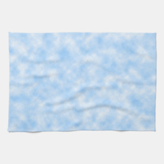 Created Blue and White Clouds Design Tea Towel