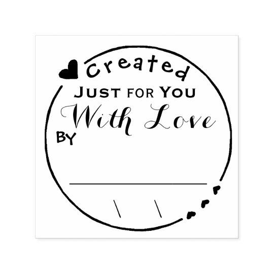Created with Love Artwork Signature/Date Self-inking Stamp