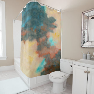 Creation, Abstract Art Painting Pastels Peach Teal Shower Curtain