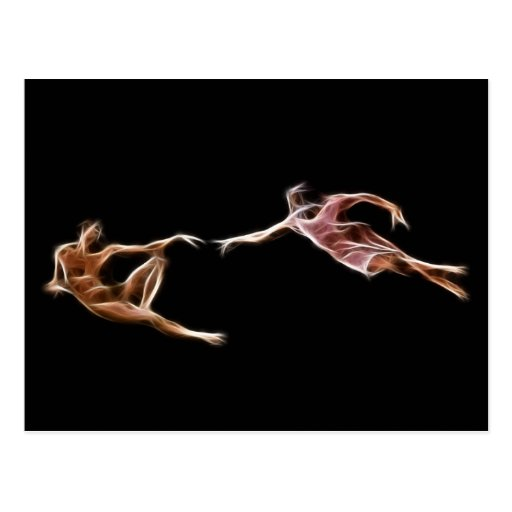 Creation of Adam Michelangelo Fractal Painting Post Cards