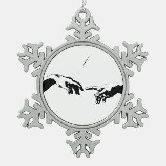 Creation of Adam Snowflake Pewter Christmas Ornament