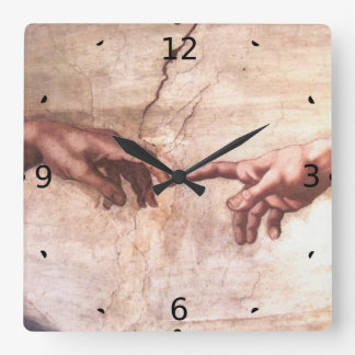 CREATION OF ADAM SQUARE WALL CLOCK