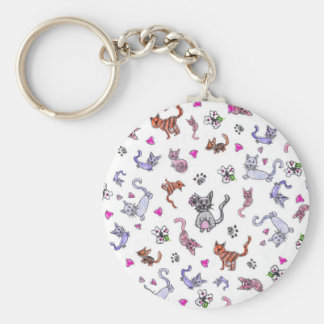 Creative Cats - A Colorful Pet-Lovers Pattern Basic Round Button Key Ring