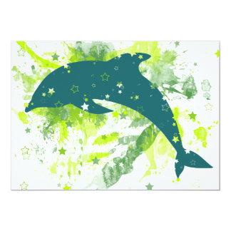 Creative Dolphin Design 13 Cm X 18 Cm Invitation Card