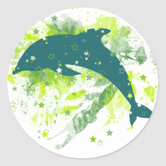 Creative Dolphin Design Classic Round Sticker