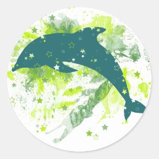 Creative Dolphin Design Round Sticker