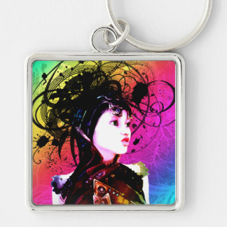 Creative Funk Industrial Surrealism Art Silver-Colored Square Key Ring
