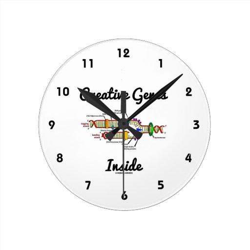 Creative Genes Inside (DNA Replication) Round Wall Clocks