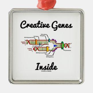 Creative Genes Inside (DNA Replication) Silver-Colored Square Decoration