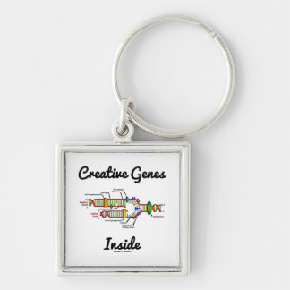 Creative Genes Inside (DNA Replication) Silver-Colored Square Key Ring
