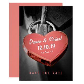 Creative Heart Shape Love Lock Save The Date Card