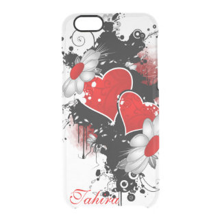 Creative Hearts and Flowers in Grunge Style Clear iPhone 6/6S Case