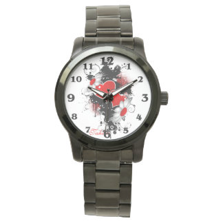 Creative Hearts and Flowers in Grunge Style Watch