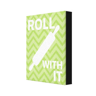 Creative Kitchens - Rolling pin on chevron. Stretched Canvas Print