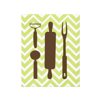 Creative Kitchens - Rolling pin on chevron Canvas Print