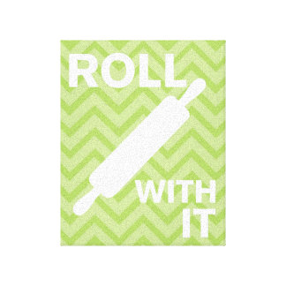 Creative Kitchens - Rolling pin on chevron Stretched Canvas Prints